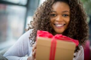 Women with Christmas Gift