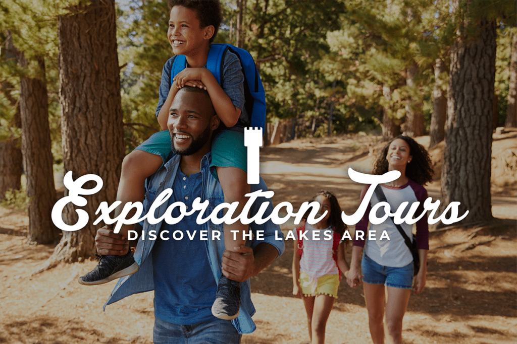 Exploration Tour Logo with Family Hiking