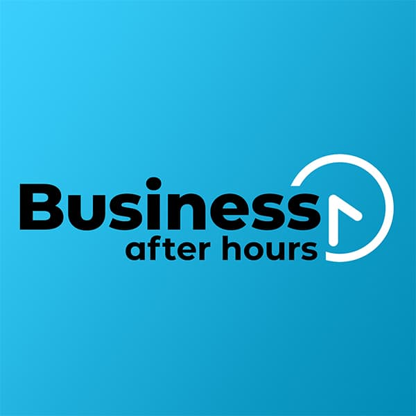 Business After Hours logo Blue Background Square
