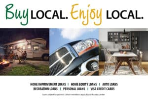 Buy Local Enjoy Local graphic with camper and truck