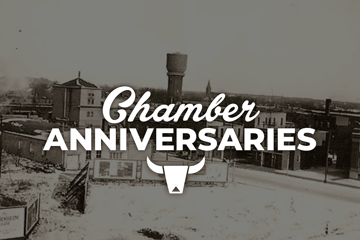 Chamber Anniversaries Graphic with Old Water Tower Photo