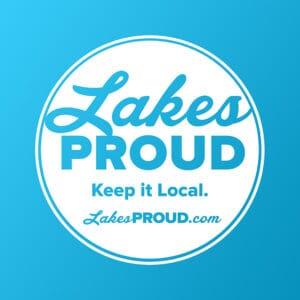 Lakes Proud White Logo Blue Background