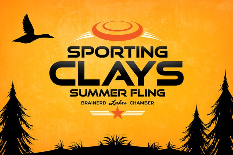 Sporting Clays Logo on Orange Background with Black Trees