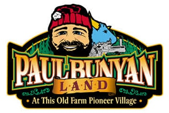 Paul Bunyan Land Logo with Paul Bunyan and Babe the Blue Ox Graphic