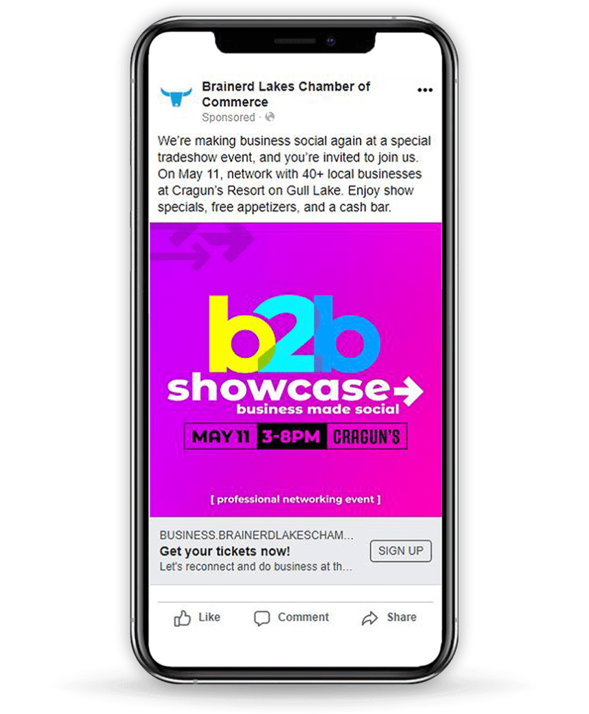 b2b Showcase Facebook Ad Mockup on iPhone with drop shadow Wide