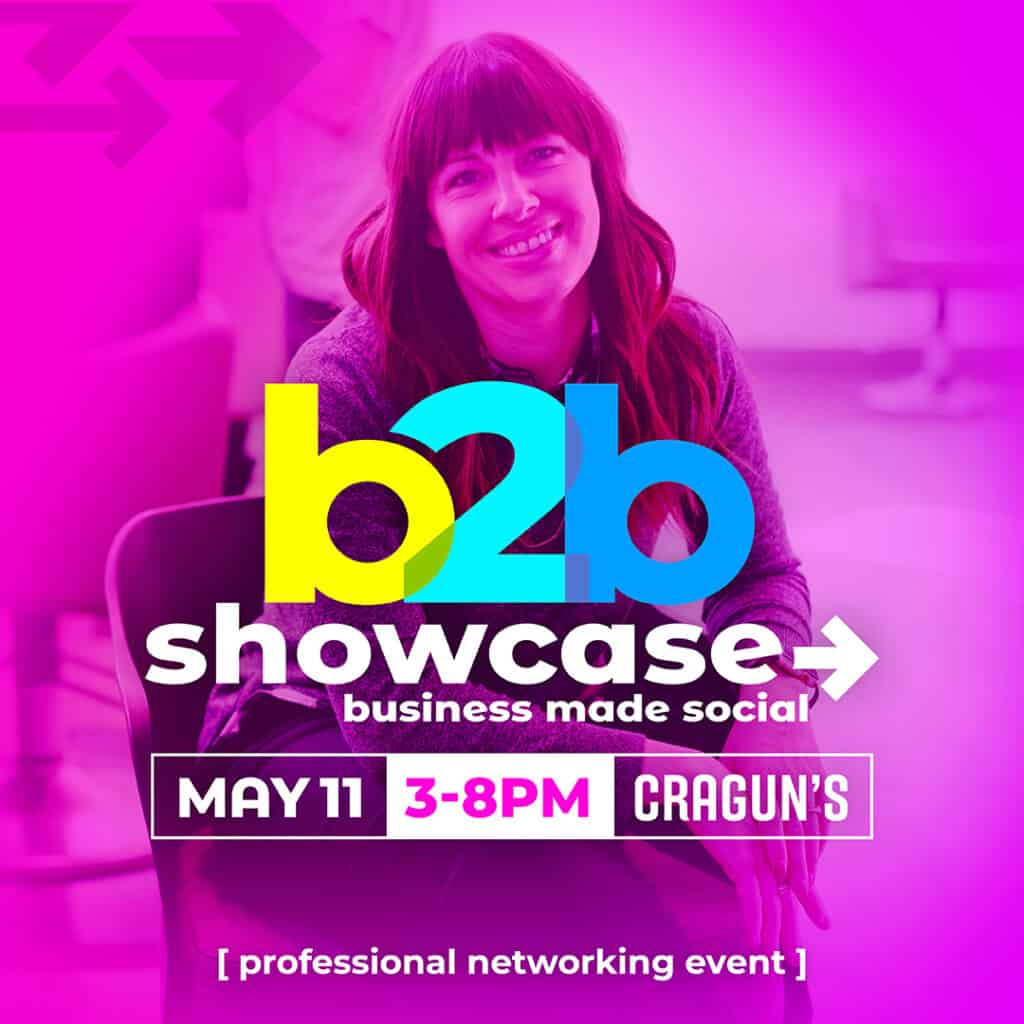 b2b Showcase Promotional Image 1080x1080px Magenta with Woman
