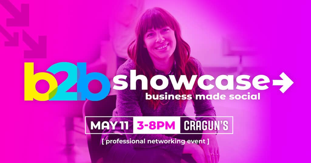 b2b Showcase Promotional Image 1200x628px Magenta with Woman