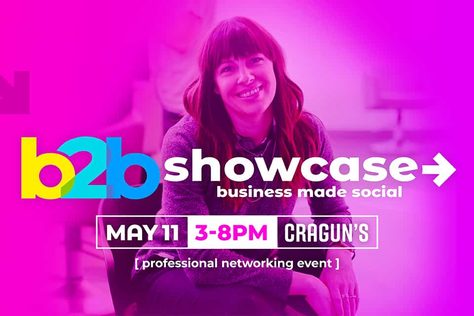 b2b Showcase Promotional Image 960x640px Magenta with Woman