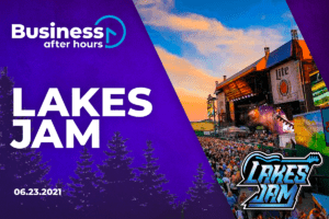 Lakes Jam Photo with Business After Hours Logo on Purple Background with Trees