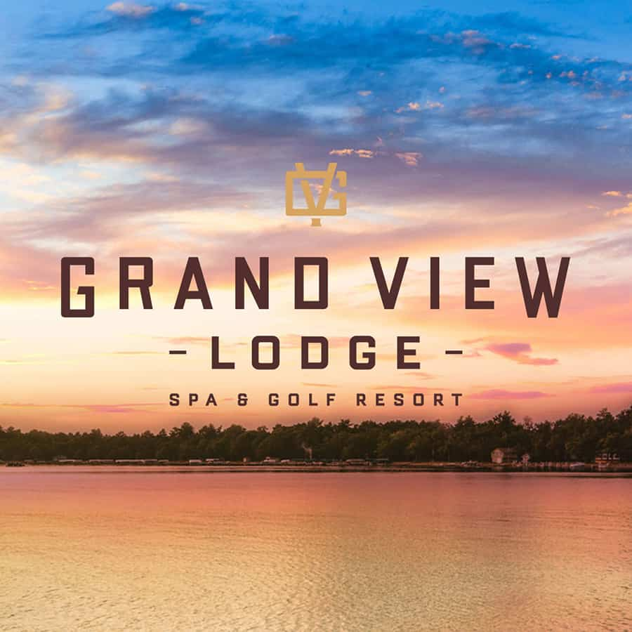 Grand View Lodge Logo on top of photo of Gull Lake at Sunset