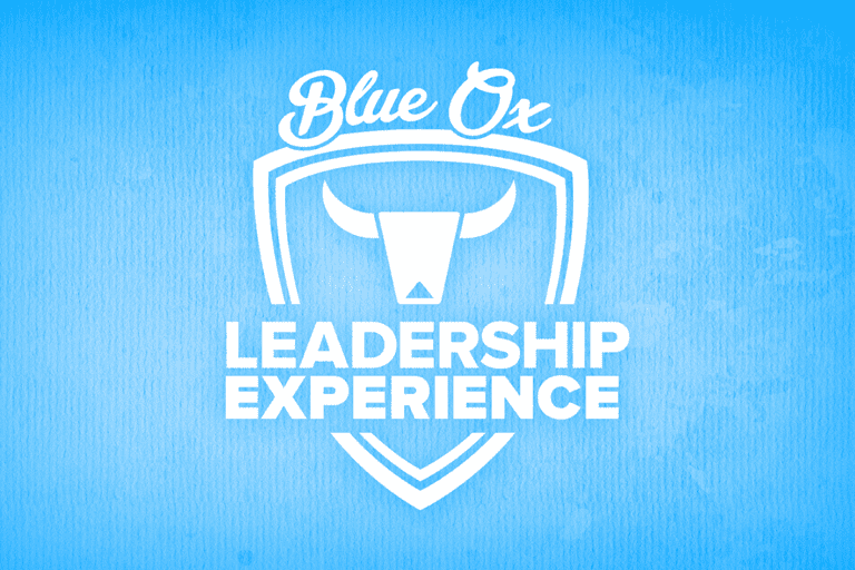 White Leadership Experience Logo over Blue Distressed Background