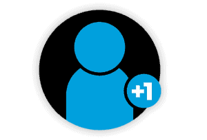 Person Plus One Icon in Black and Blue