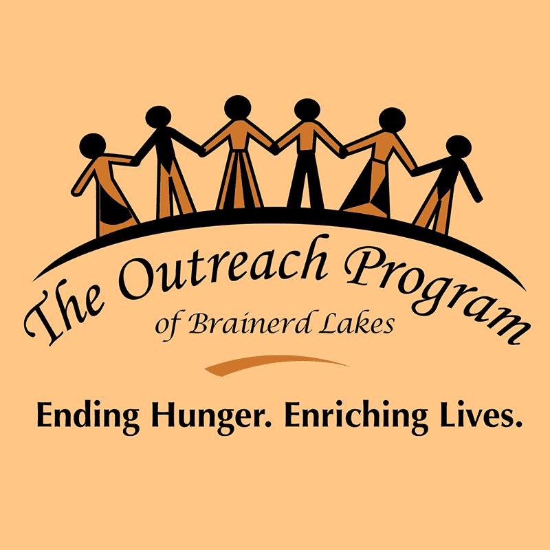 The Outreach Program of Brainerd Lakes Logo on Orange Background Square Image