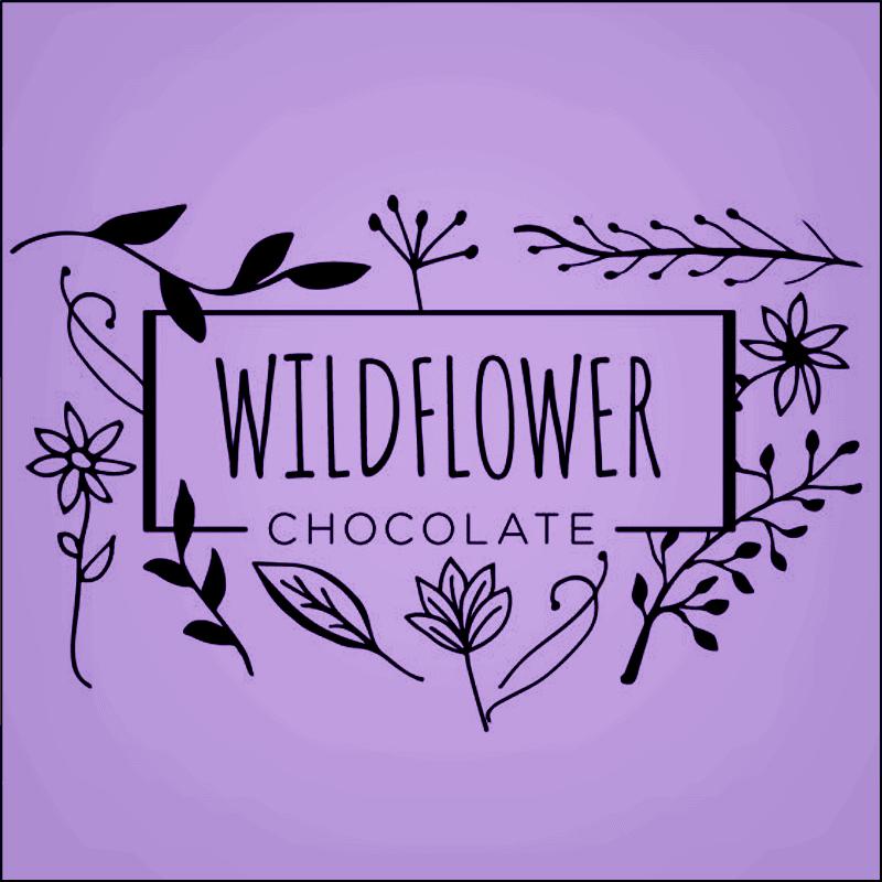 Wildflower Chocolate Logo on Purple Background Square Image