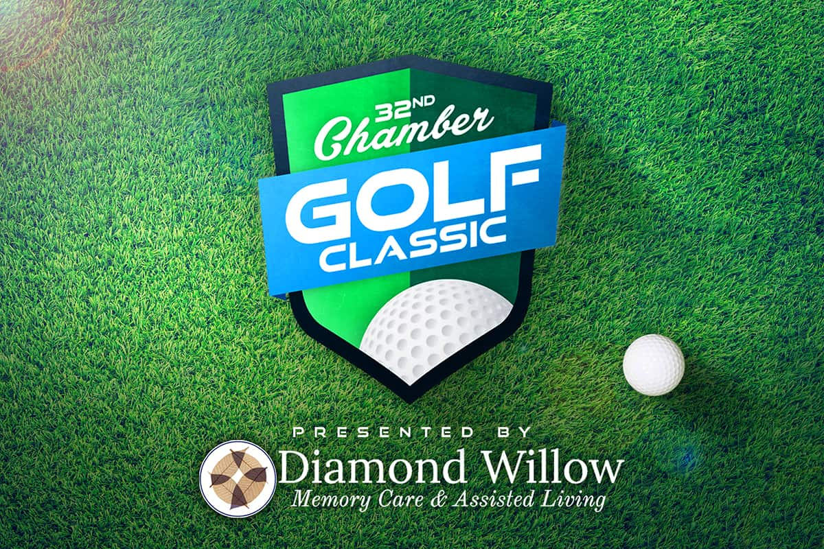 Chamber Golf Classic Logo Full Color on Grass Background with Dimond Willow Logo