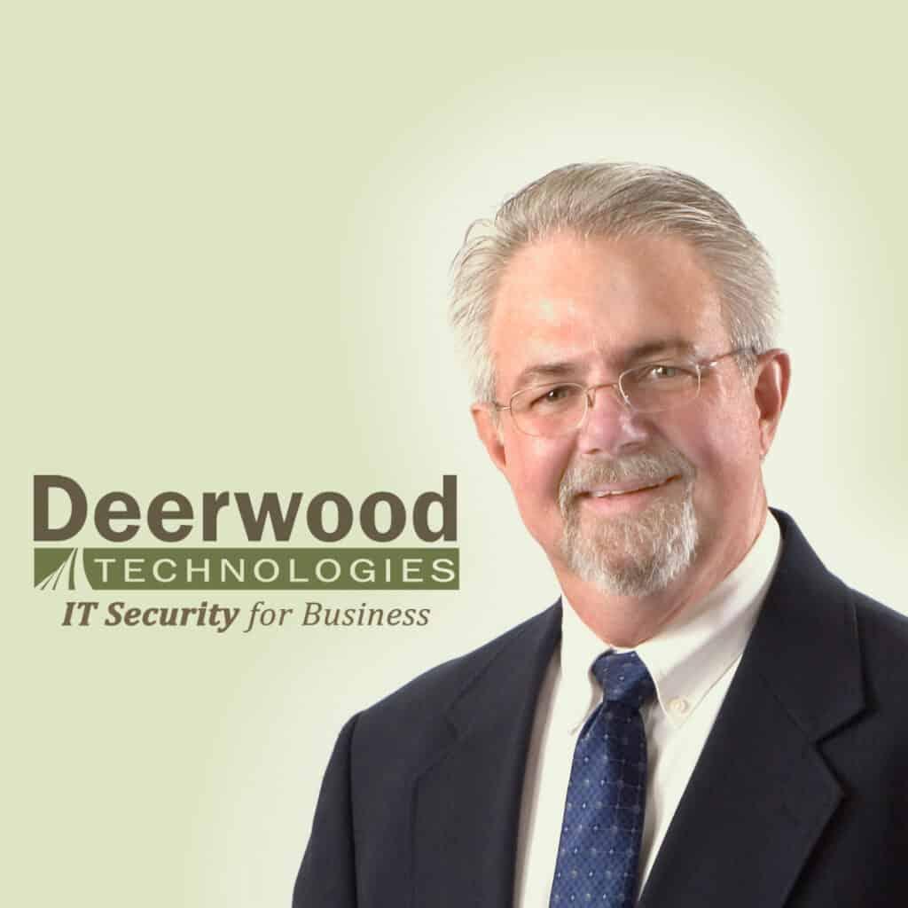 Jim Mayne Headshot with Deerwood Technologies Logo