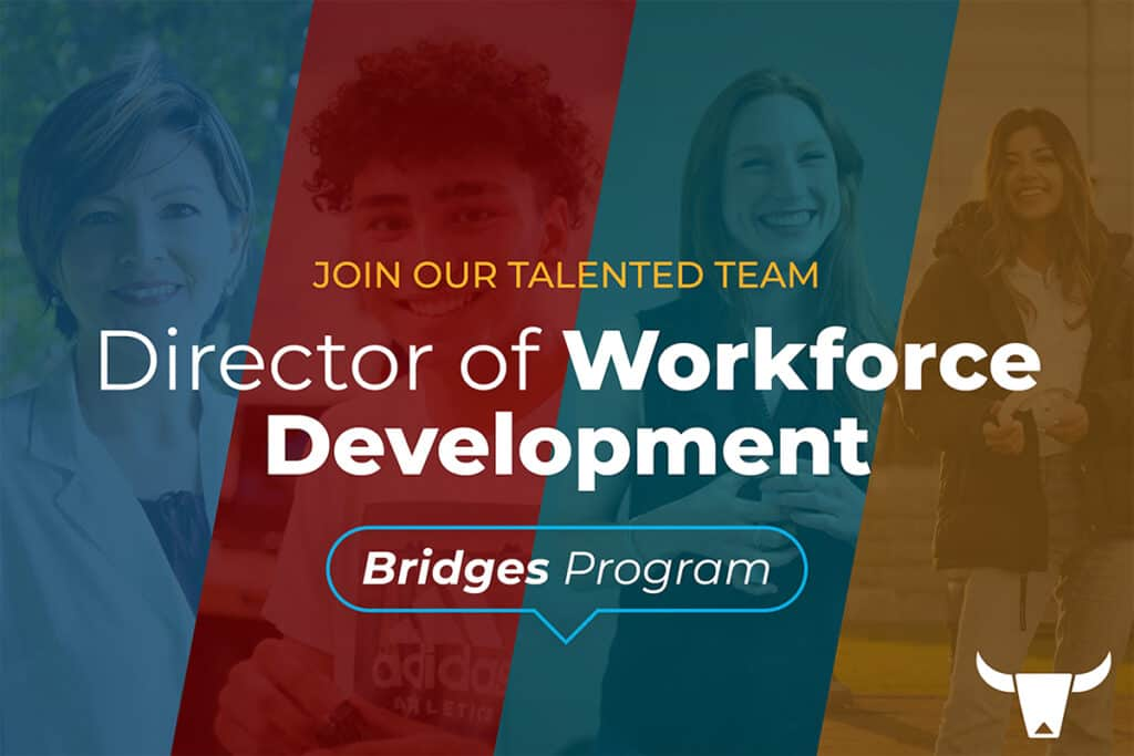 Photo Collage of People smiling with slanted overlays of different colors with Director of Workforce Development written on the top
