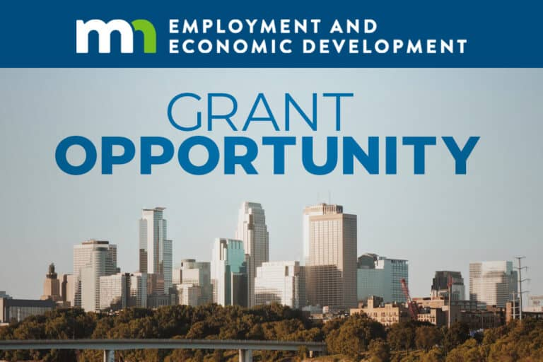 Minneapolis Skyline during day with Grant Opportunity text overlaying the image