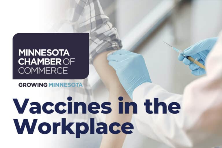 Person Receiving Shot in Arm from Doctor with Vaccines in the Workplace and Minnesota Chamber of Commerce Logo on top
