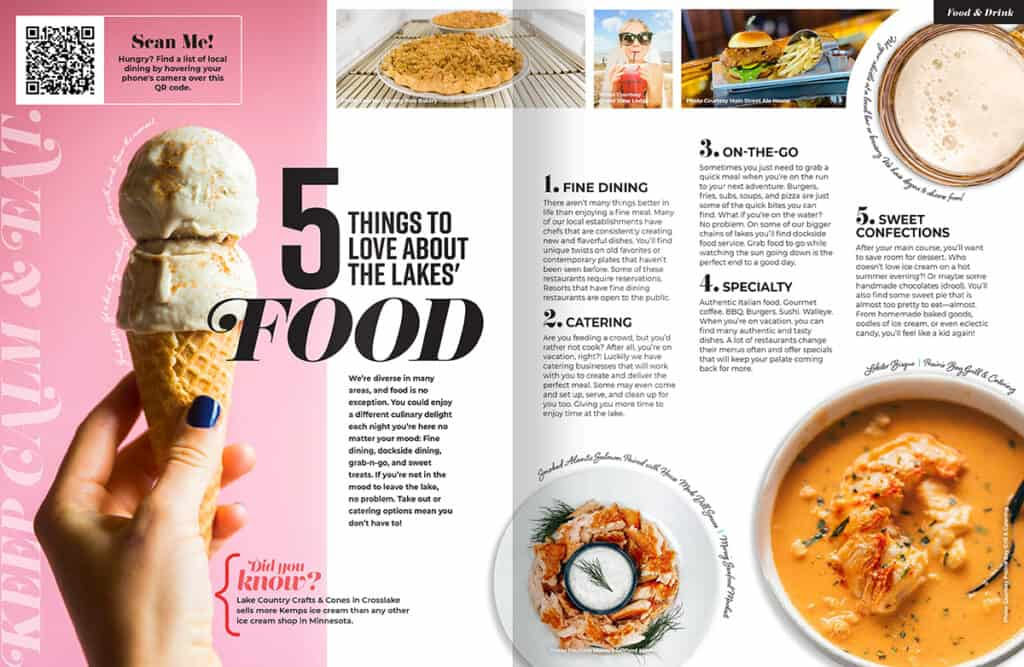 Visitor Guide Open Pages at Food Article Spread