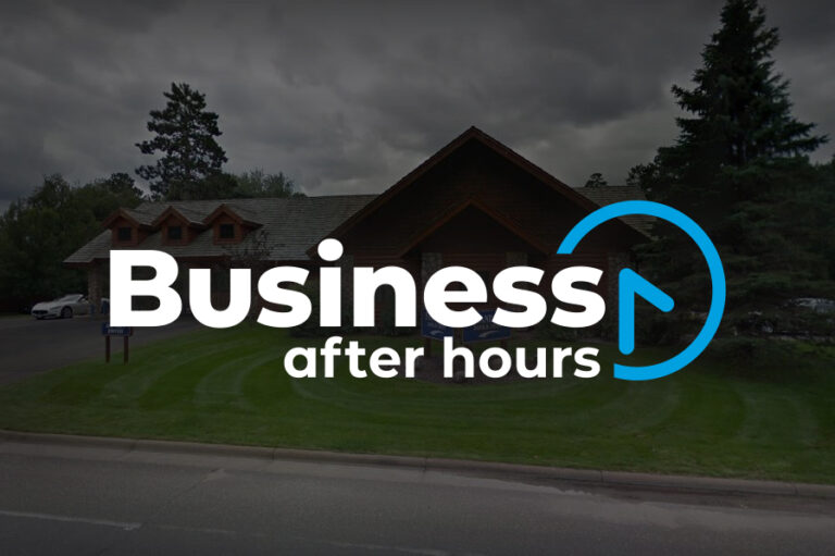 Business After Hours logo on top of photo of Frandsen Bank building photo of exterior